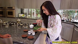 Petite japanese babe drilled in bedroom