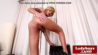 Glamcore ladyboy wanks off until she creams