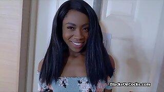 Pounding fantastic oiled black teen amateur