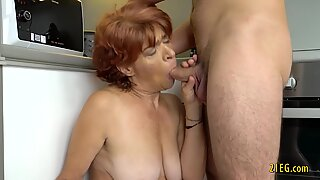 Horny granny with saggy tits fucks hard