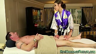 Massaging asian spunk