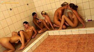 Lesbian showers orgy