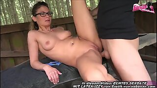 German skinny young amateur milf outdoor anal in forest
