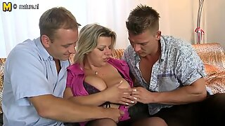 Big breasted MOM sucking and fucking two boys