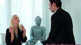 Blonde nuru masseuse sucking cock